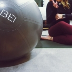 close up of exercise ball with BEI logo
