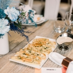 top down shot of flatbread and stylish table setting
