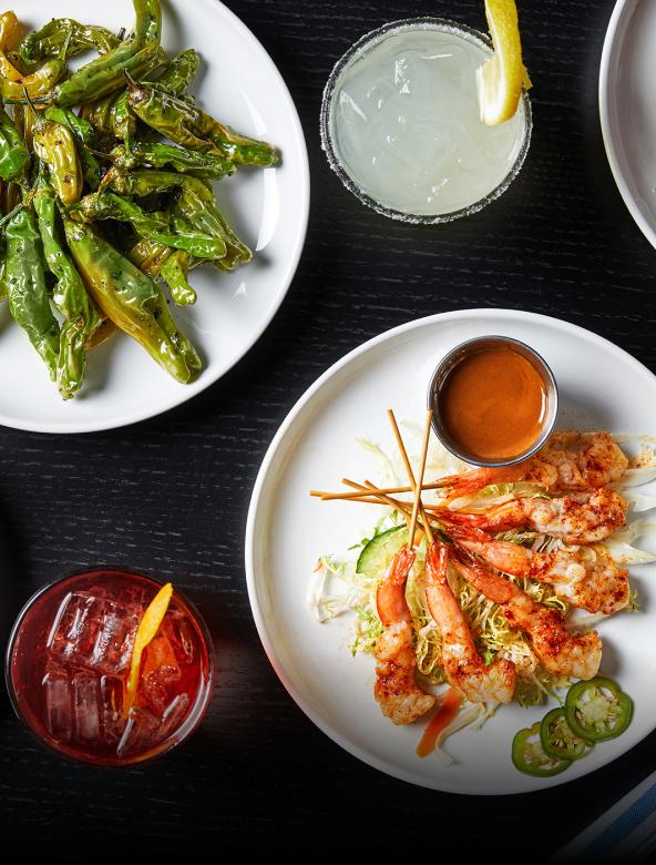 Shishito peppers and shrimp