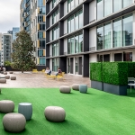 outdoor terrace green space with astroturf