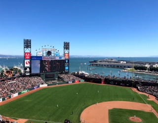 Oracle Park baseball field with ocean in the background